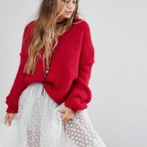 Free People All Mine Raspberry Oversized V Sweater